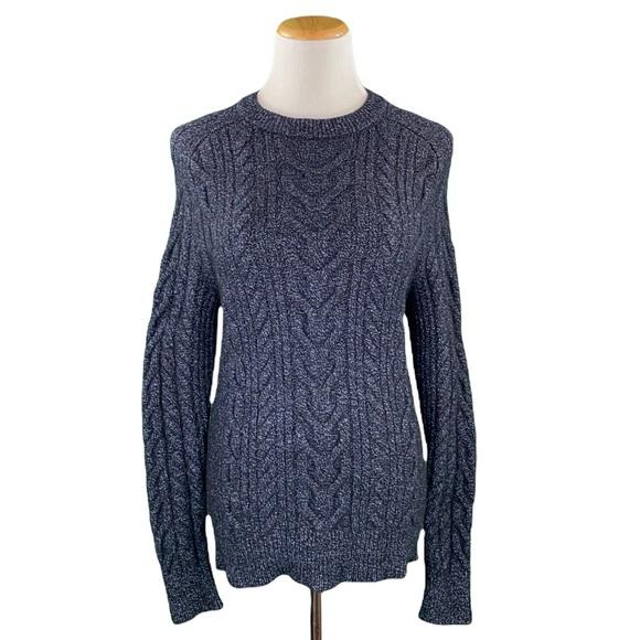 Banana Republic Merino Wool Blend Midnight Blue Crew Neck Cable Knit Sweater